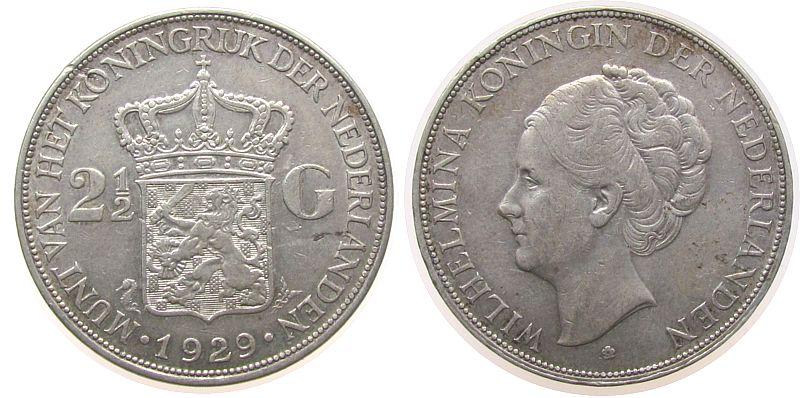 2 1/2 Gulden 1929 Niederlande Ag Wilhelmina I, Schulman 784, Randstoß ss