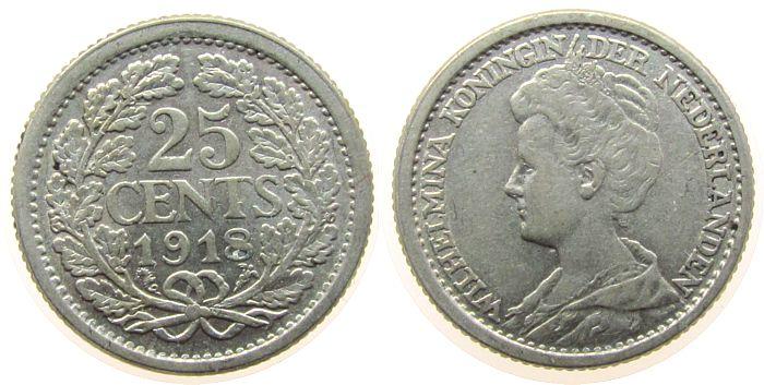 25 Cent 1918 Niederlande Ag Wilhelmina I ss