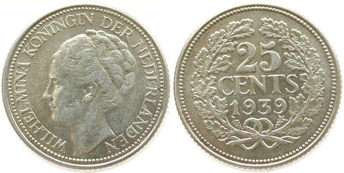 25 Cent 1939 Niederlande Ag Wilhelmina I, Schuman 873 vz-unc