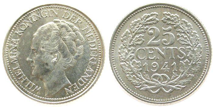 25 Cent 1941 Niederlande Ag Wilhelmina I, Schulman 875 unz