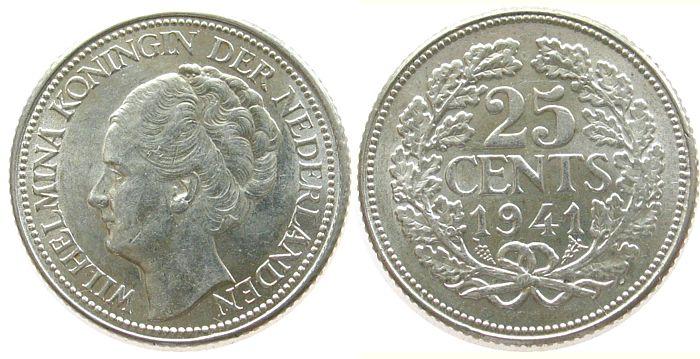 25 Cent 1941 Niederlande Ag Wilhelmina I, Schulman 875, Kontaktmarken unz
