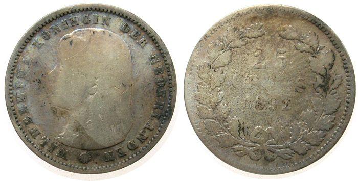 25 Cents 1892 Niederlande Ag Wilhelmina I, Schulman 847 sge / s