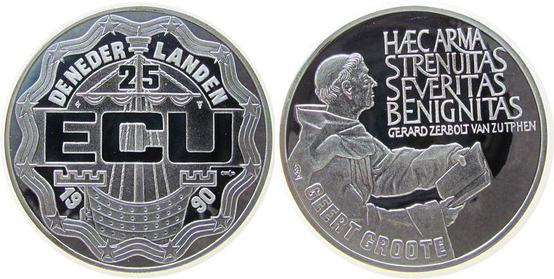 Medaille zu 25 Ecu 1990 Niederlande Ag Geert Groote pp