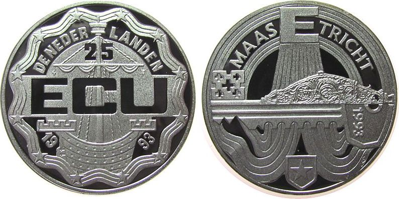 25 Ecu 1993 Niederlande Ag Maastricht-Verträge, winziger Fleck pp
