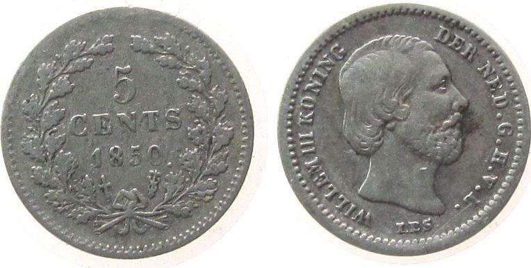 5 Cents 1850 Niederlande Ag Wilhelm III, Schulman 666a, offene 8 ss