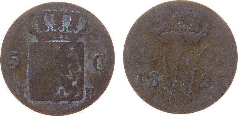 5 Cents 1825 Niederlande Ag Wilhelm I, B, Schulman 318, die Münze ist nicht versilbert schön
