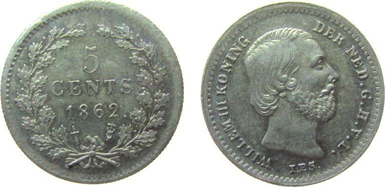 5 Cents 1862 Niederlande Ag Wilhelm III, Punkt nach Datum, Prägeschwäche Randstab unz