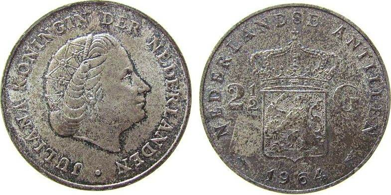 2 1/2 Gulden 1964 Niederl. Antillen Ag Juliana, Patina vz-unc
