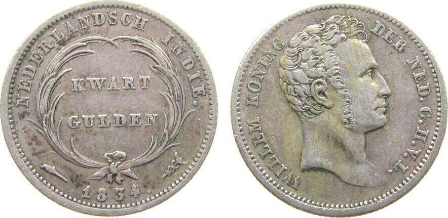 1/4 Gulden 1834 Niederl. Indien Ag Willhelm I ss+