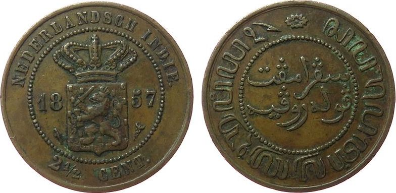 2 1/2 Cents 1857 Niederl. Indien Ku Königreich Niederlande ss