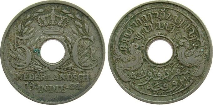 5 Cents 1922 Niederl. Indien KN ss