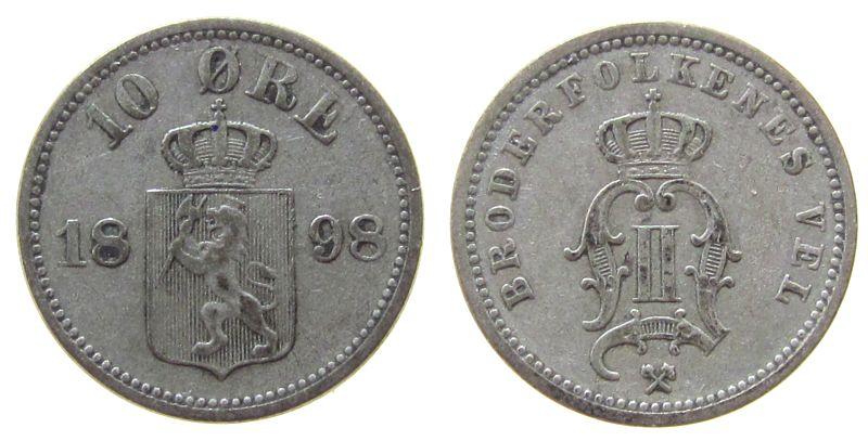 10 Öre 1898 Norwegen Ag Oskar II ss