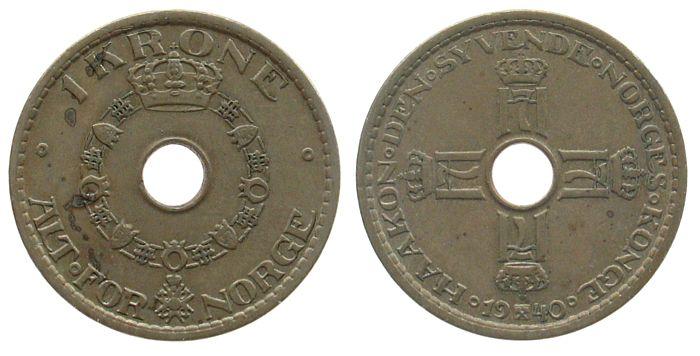 1 Krone 1940 Norwegen KN Haakon VII vz