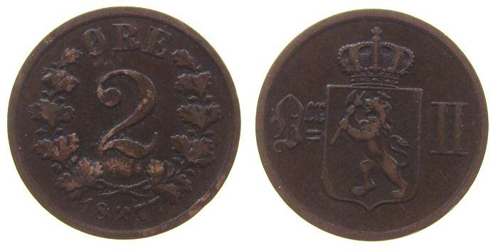 2 Öre 1877 Norwegen Br Oskar II, kleiner Randstoß ss+