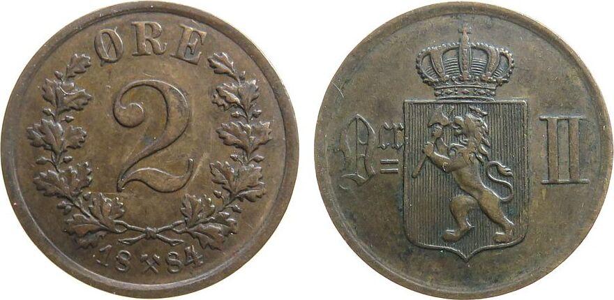 2 Öre 1884 Norwegen Br Oskar II vz-