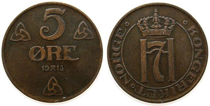 5 Öre 1913 Norwegen Br Haakon VII ss