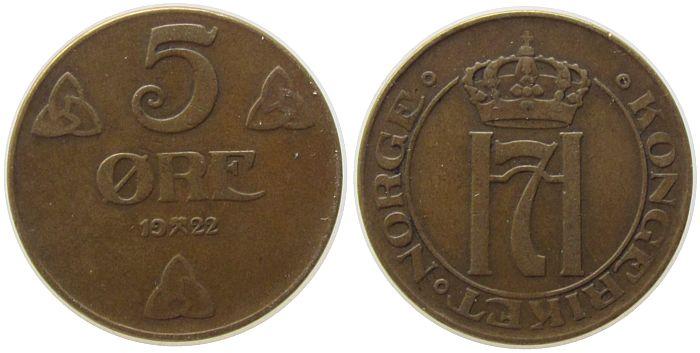 5 Öre 1922 Norwegen Br Haakon VII ss