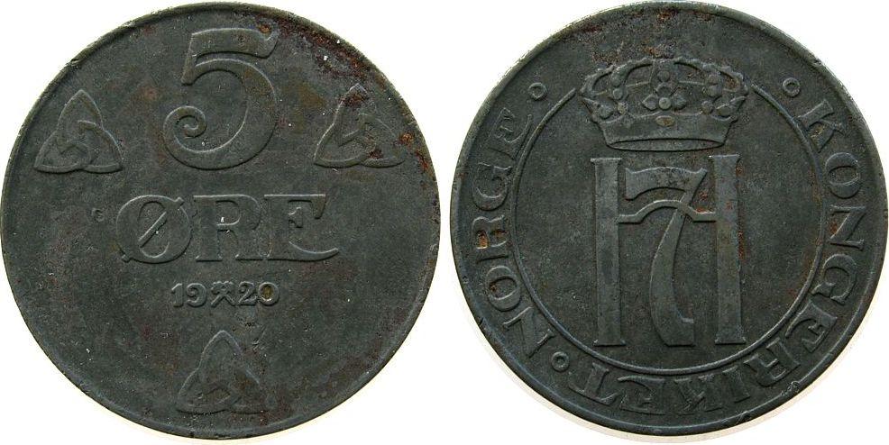 5 Öre 1920 Norwegen Fe Haakon VII,Schön 30 ss