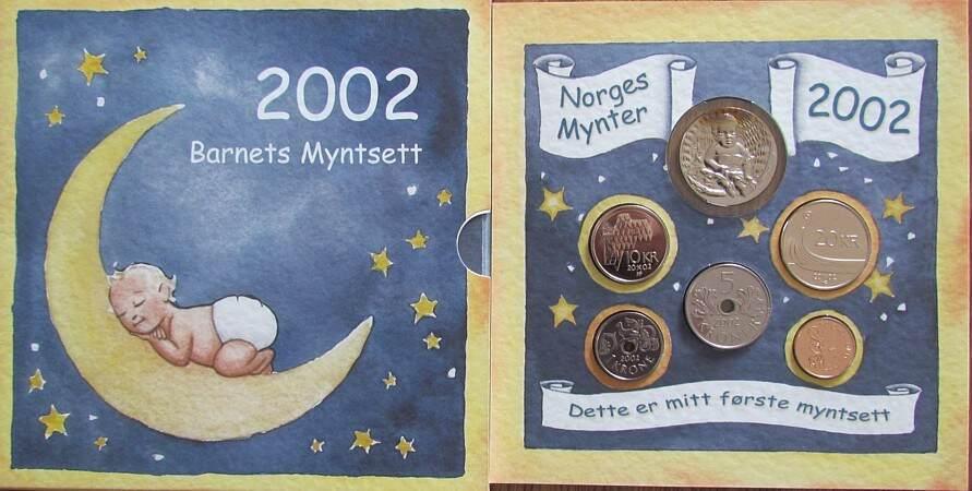 36,5 Kronen 2002 Norwegen div. Kursmüzensatz, Blister, Baby, 5 Münzen plus einer Medaille stgl