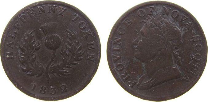 1 Penny-Token 1832 Nova Scotia Ku Georg IV gutes schön