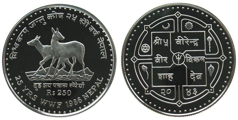 250 Rupien 1986 Nepal Ag WWF, Moschustiere pp