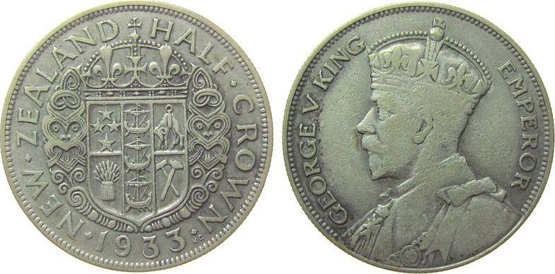 1/2 Crown 1933 Neuseeland Ag Georg V fast ss