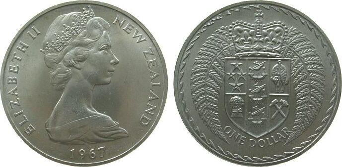 1 Dollar 1967 Neuseeland KN Elisabeth II unz
