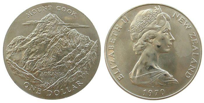 1 Dollar 1970 Neuseeland KN Mt.Cook unz