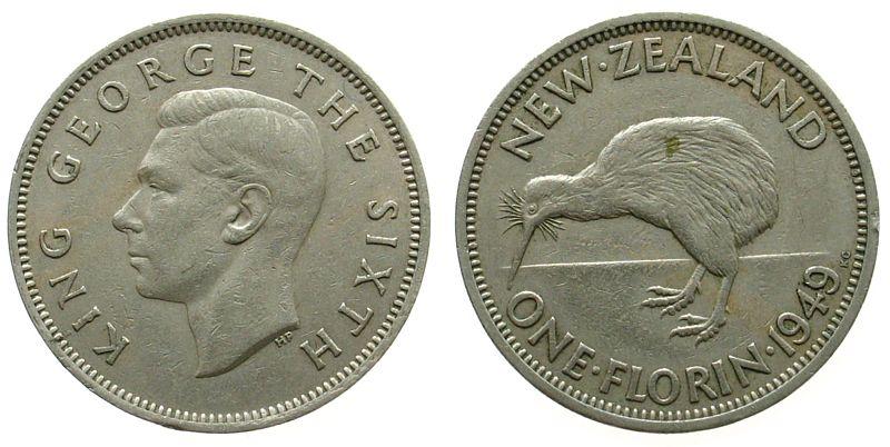 1 Florin 1949 Neuseeland KN Georg VI, Kiwi, kleiner Randfehler ss