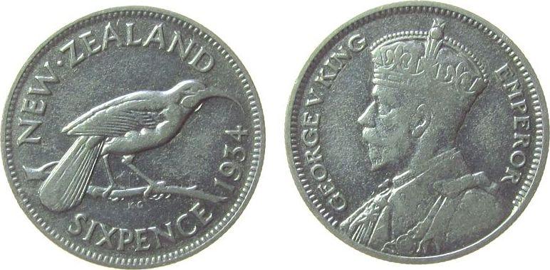 6 Pence 1934 Neuseeland Ag Georg V fast ss