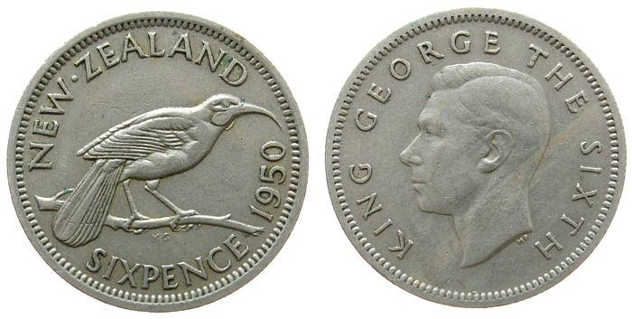 6 Pence 1950 Neuseeland KN Georg VI ss
