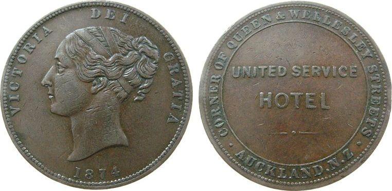 1 Penny Token 1874 Neuseeland Ku Aukland, United Service Hotel, Atkins: 294 ss