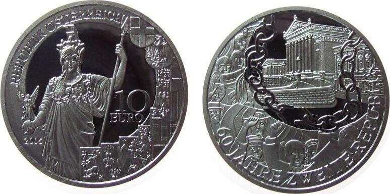 10 2005 Österreich Ag 60 Jahre Zweite Republik, ohne Box, ohne Zertifikat pp