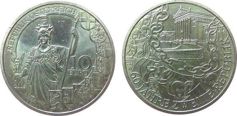 10 Euro 2005 Österreich Ag 60 Jahre Zweite Republik, ohne Box, ohne Zertifikat vz-unc