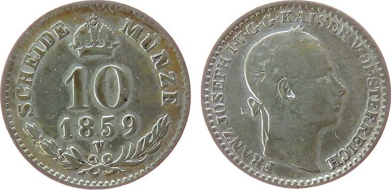 10 Kreuzer 1859 Österreich Ag Franz Joseph I (1848-1916), V (Venedig) fast ss