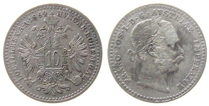 10 Kreuzer 1869 Österreich Ag Franz Joseph I schön