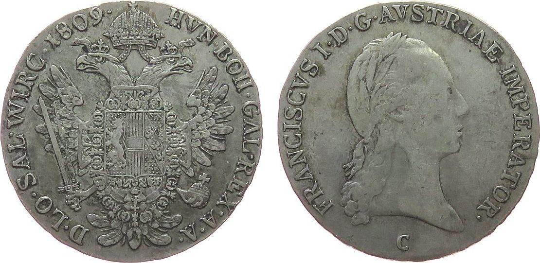 1/2 Taler 1809 Österreich Ag Franz II. (I.), 1792-1835, C (Prag), selten, ca. 13,81 Gramm fast ss