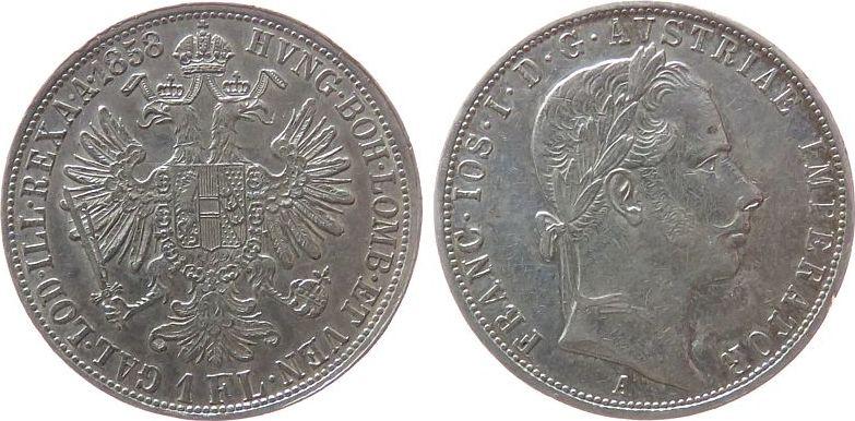 Gulden 1858 Österreich Ag Franz Joseph I (1848-1916), A (Wien) fast ss