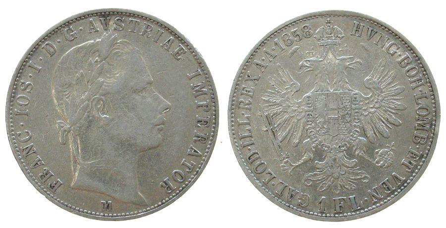 Gulden 1858 Österreich Ag Franz Joseph I (1848-1916), M (Mailand), kleiner Randstoß ss