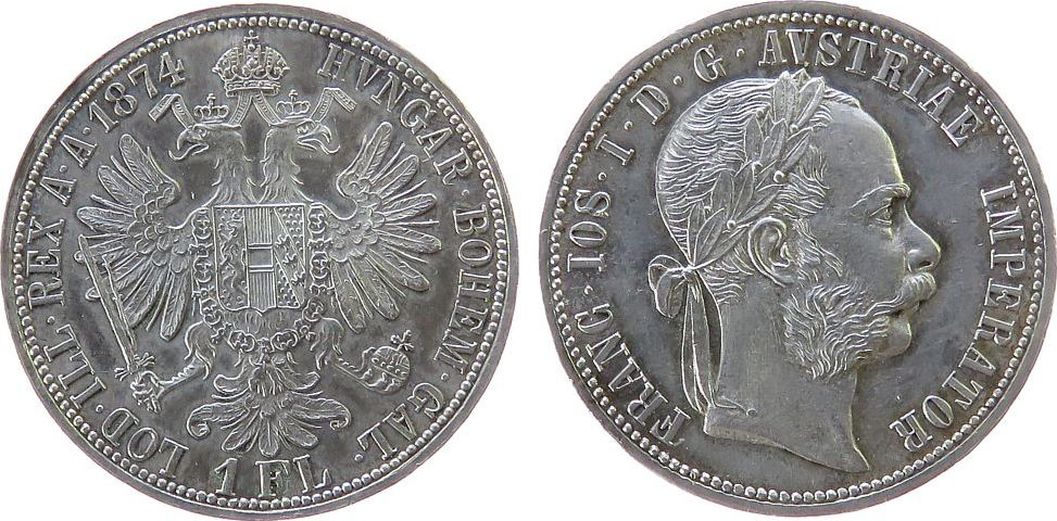 Gulden 1874 Österreich Ag Franz Joseph I (1848-1916), selten, winziger Grünspanfleck, minimal berieben stgl-