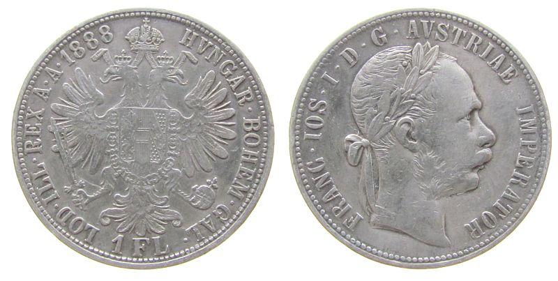 1 Gulden 1888 Österreich Ag Franz Joseph I ss