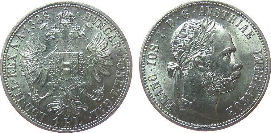 1 Gulden 1888 Österreich Ag Franz Joseph I vz-unc