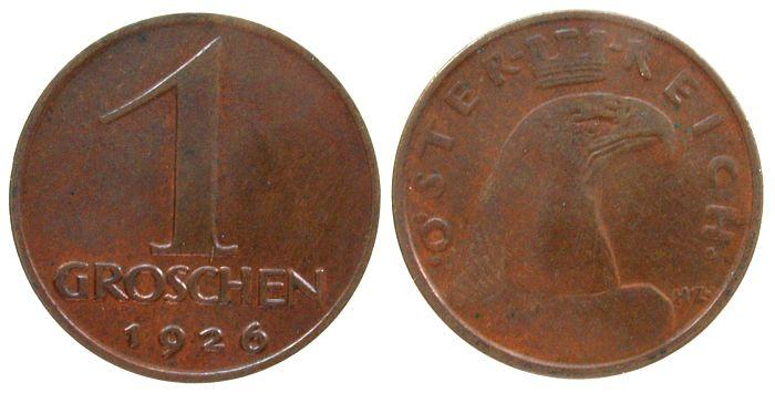 1 Groschen 1926 Österreich Br . unz