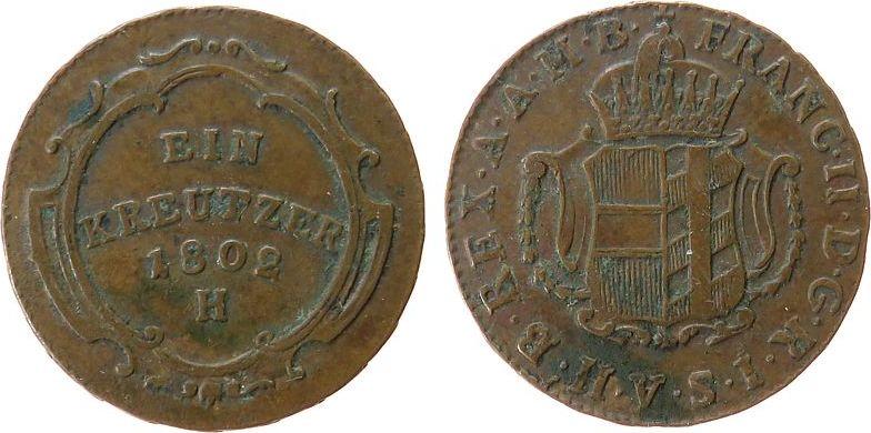 1 Kreuzer 1802 Österreich Ku Joseph II, Vorderösterreich, H (Grünzburg) ss
