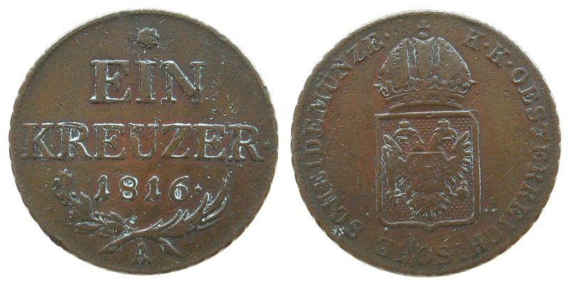 1 Kreuzer 1816 Österreich Ku Franz II. (I.), 1792-1835, A (Wien), falscher Schrötling, 8.78 Gramm, 26,2 MM ss