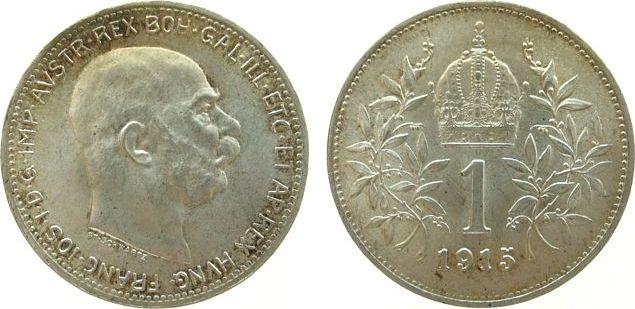 1 Krone 1915 Österreich Ag Franz Joseph I,J383 vz-unc