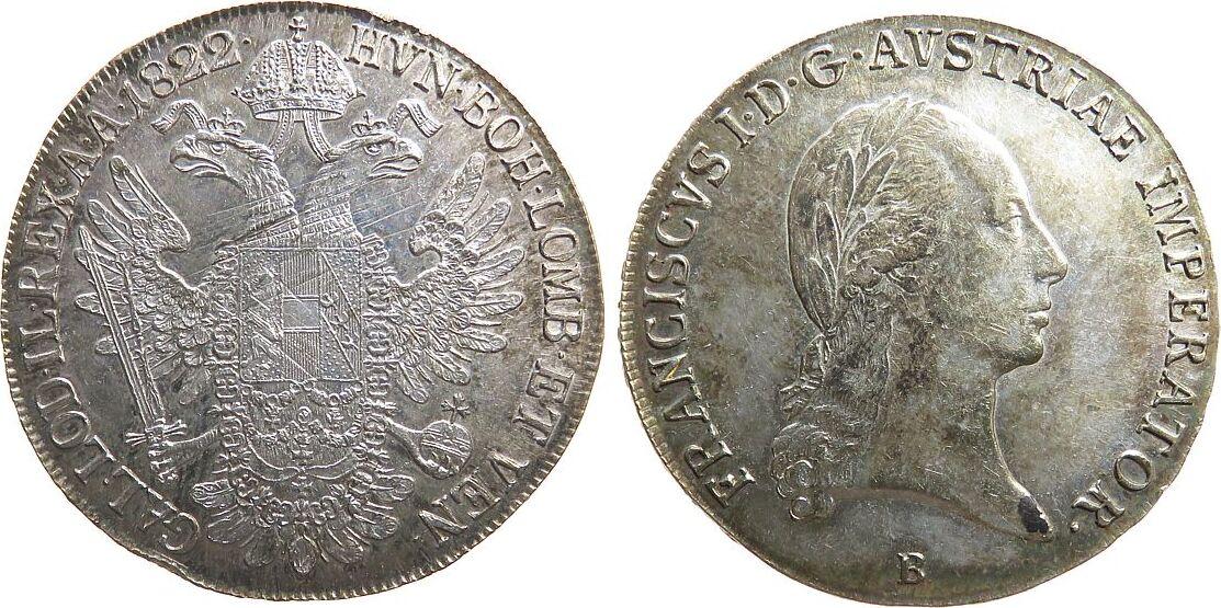 Taler 1822 Österreich Ag Franz II. (I.), 1792-1835, B (Kremnitz), justiert, kleine Randstöße, kleiner Fleck vz