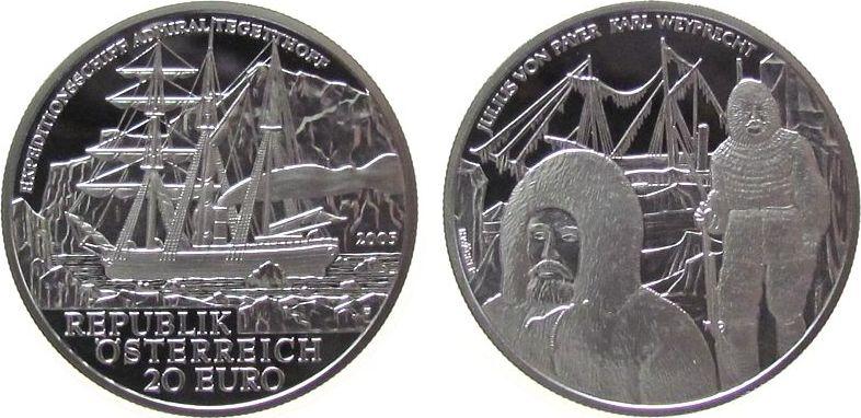 20 Euro 2005 Österreich Ag Polarexpedition Tegetthoff, mit Box, mit Zertifikat pp