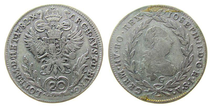 20 Kreuzer 1782 Österreich Ag Joseph II (1780-1790), G (Nagybanya Ungarn) fast ss