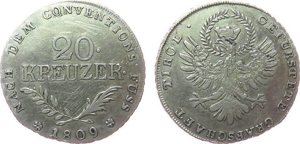 20 Kreuzer 1809 Österreich Ag Franz II. (I.), 1792-1810, Aufstand unter Andreas Hofer, Schlacht am Berg Isel, Tirol, feine Kratzer Wertseite ss